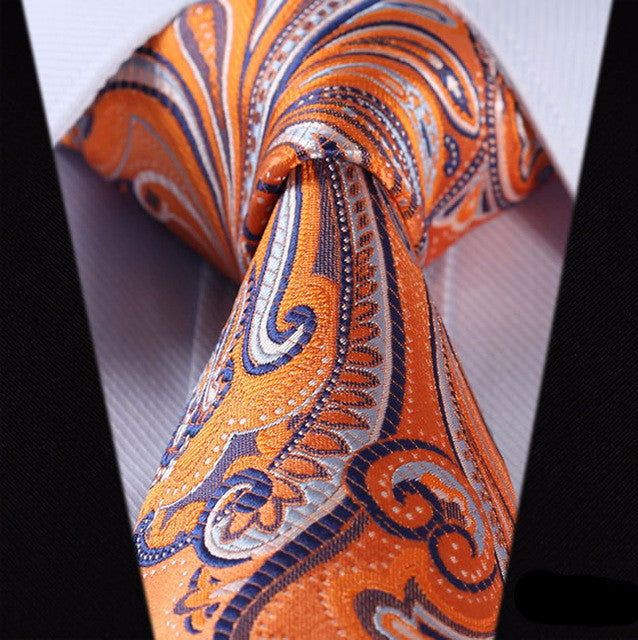 "WW Yellow, Blue and White Paisley Print 3.4"" Classic Necktie 100% Silk Men Self Tie Necktie"