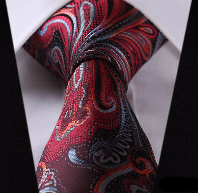 "WW Burgundy, Red, and Blue Paisley Print 3.4"" Classic Necktie 100% Silk Men Self Tie Necktie"