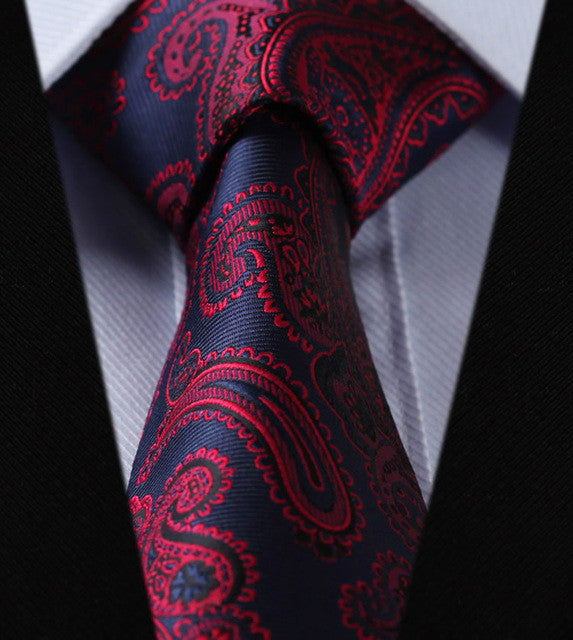 "WW Blue and Red Paisley Print 3.4"" Classic Necktie 100% Silk Men Self Tie Necktie"