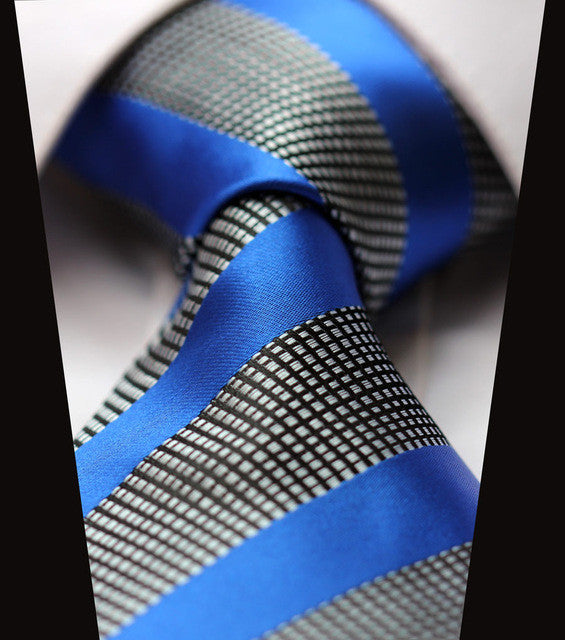 "WW Grey and Blue Striped Print 3.4"" Classic Necktie 100% Silk Men Self Tie Necktie"