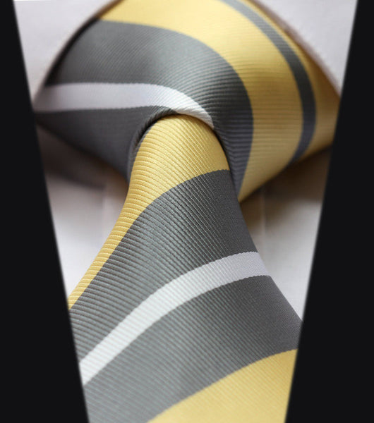 "WW Grey, Yellow, and White Stripes 3.4"" Classic Necktie 100% Silk Men Self Tie Necktie"