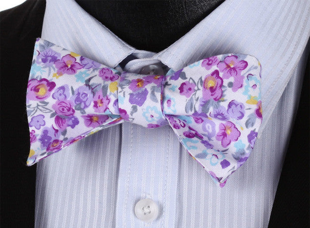WW Classic Floral Print Purple Yellow Green Floral Men Bow Tie 100%Cotton Self Tie