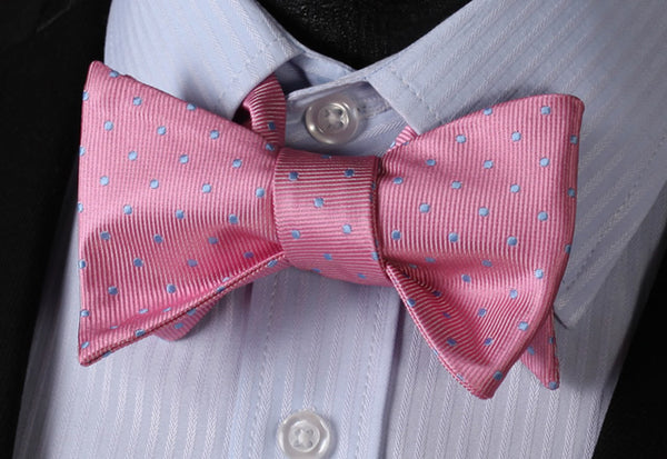WW Signature Pink with Baby Blue Polka Dot Silk Woven Men Self Tie BowTie