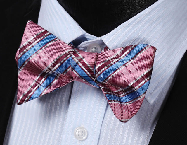 WW Signature Pink, Blue, and Burgundy Plaid Silk Woven Men Self Tie Bowtie