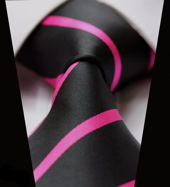 "WW Signature Black with Pink Stripe 3.4"" Silk Woven Men Necktie"