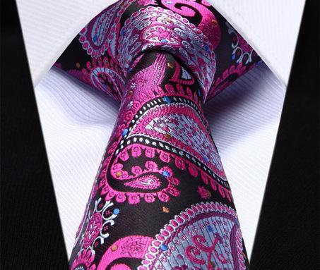 "WW Signature Pink, Black and Blue Multi Paisley 3.4"" Silk Woven Men Necktie"