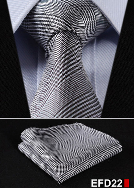 "WW Signature Black and White Plaid 3.4"" Silk Woven Men Necktie"