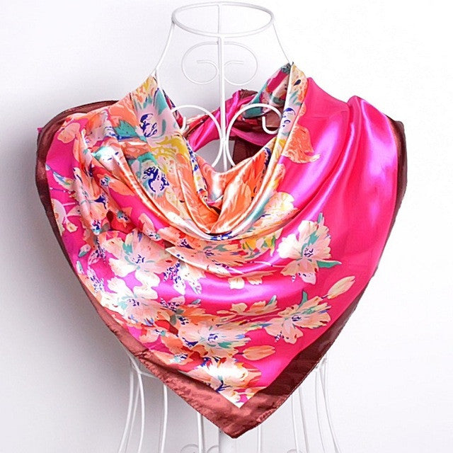 WW Ladies Silk Scarf Wraps European Style Design Scarf  90*90cm