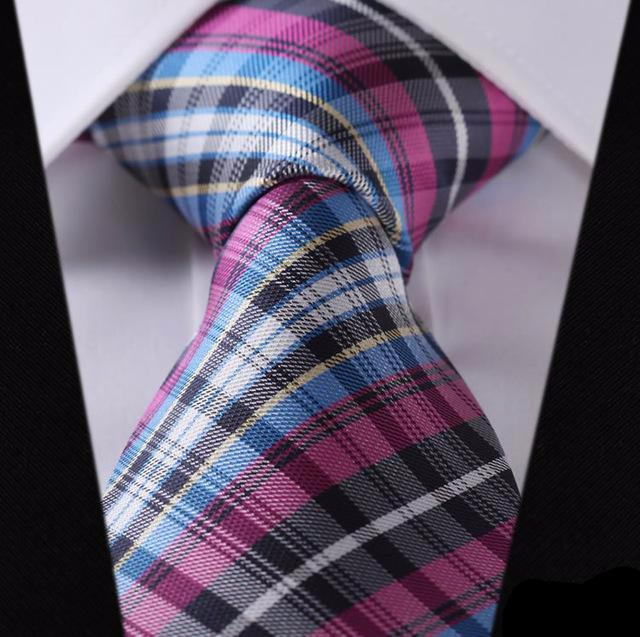 "WW Signature Pink, Blue and White Multi Plaid Paisley 3.4"" Silk Woven Men Necktie"