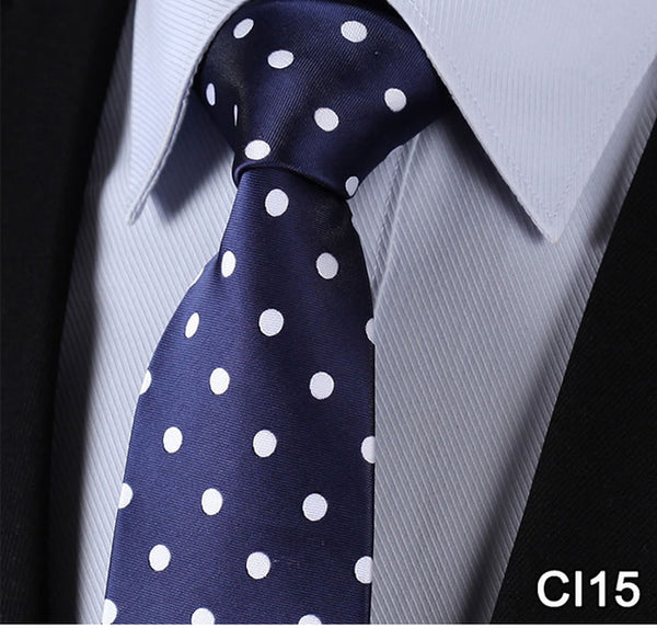 "WW Signature Navy Blue with White Polka Dot 3.4"" Silk Woven Men Necktie"