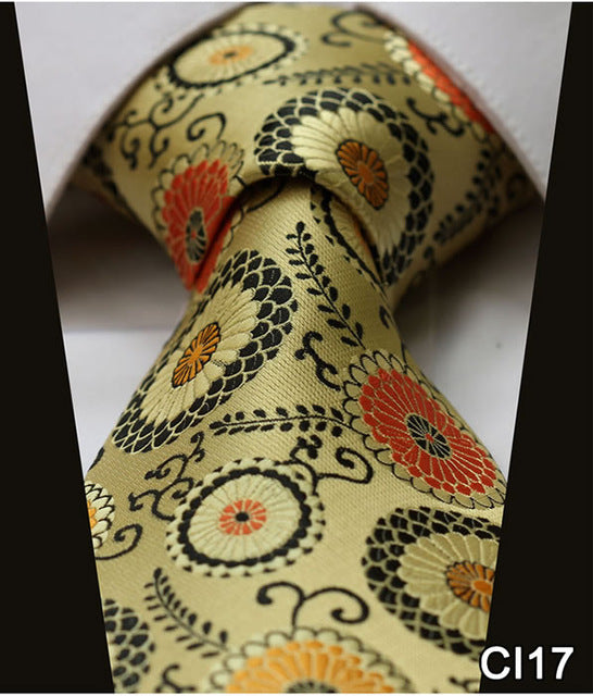 "WW Signature Gold, Black and Orange Oriental Print 3.4"" Silk Woven Men Necktie"