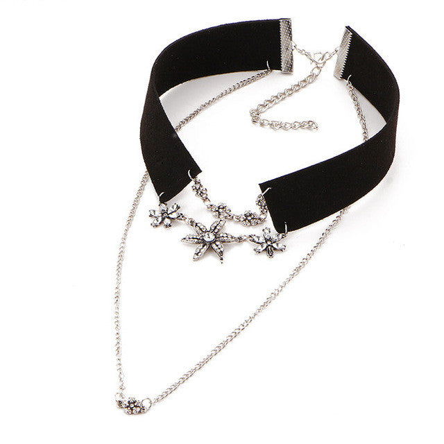 WW Women Crystal Flower Tattoo Collar Choker Necklace