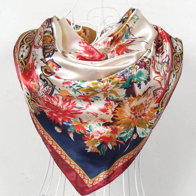 WW New Style Female Satin Square Silk Scarf Printed Fashion 90*90cm