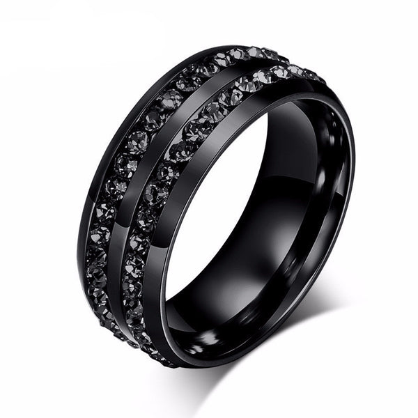 WW Black Stainless Steel Two Row Crystal Ring For Women