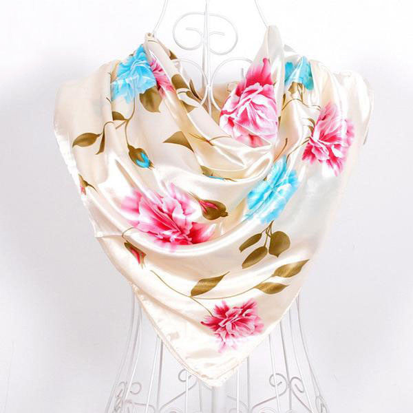 WW Flower Printed Fashion Silk Scarves