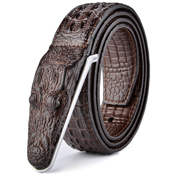 WW Mens Leather Luxury Crocodile Belts With Ribbed Texture