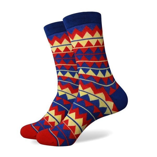 WW Colorful Variety Pattern Cotton Knit Socks For Men US Sizes(7.5-12)