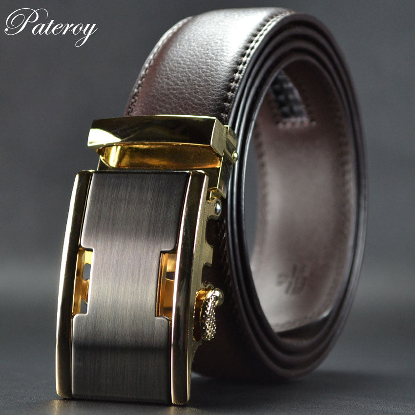 WW New Automatic Buckle Luxury Men Belts Brown Color
