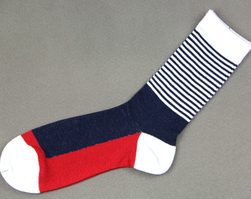 WW Colorful Striped Cotton Knit Socks For Men US Sizes(7.5-12)