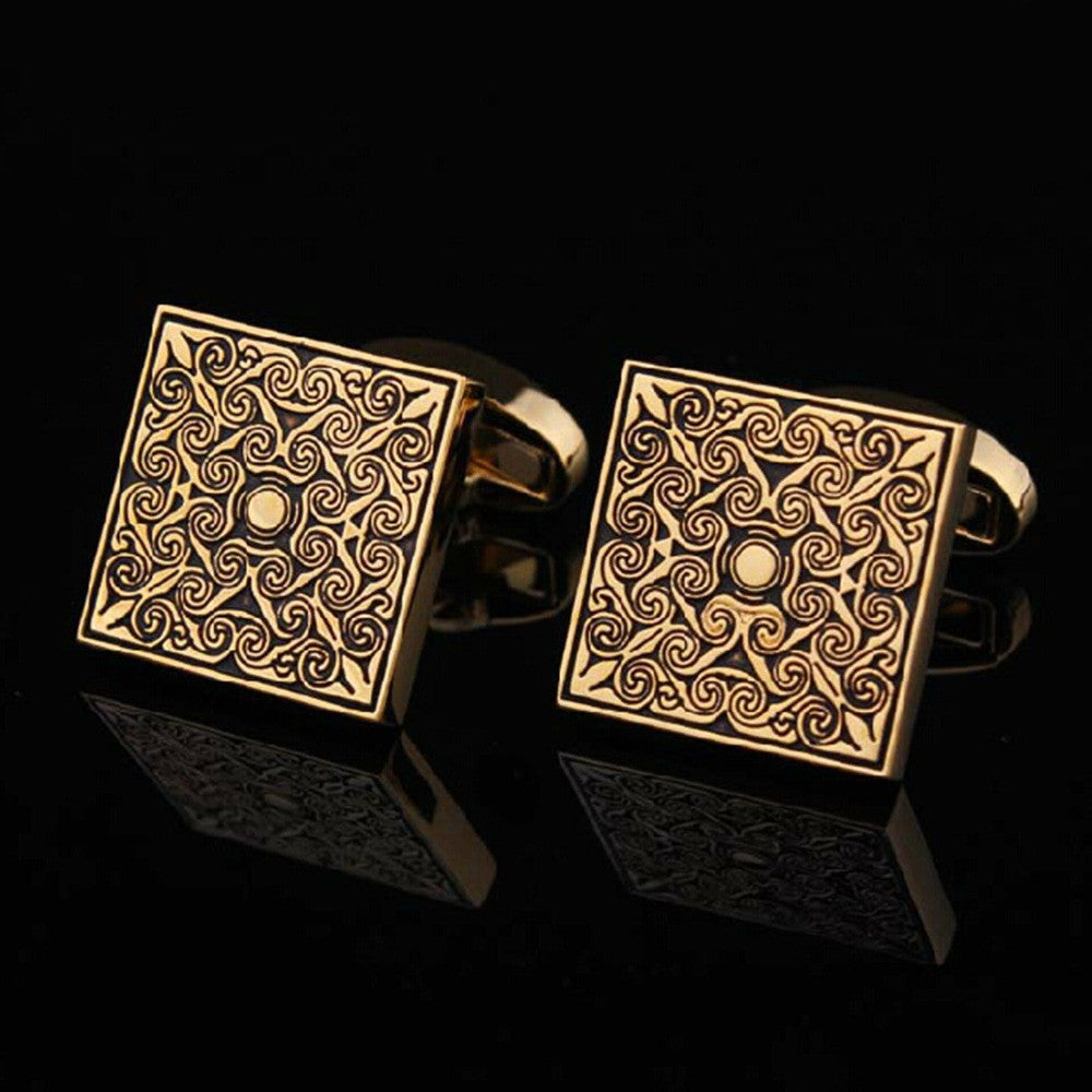 WW High Quality Men Cuff Links Vintage Classical Grid Cufflinks  Engraved Gold and Silver