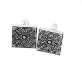 WW High Quality Men Classical Grid Engraved Cuff Links Gold and Silver Color