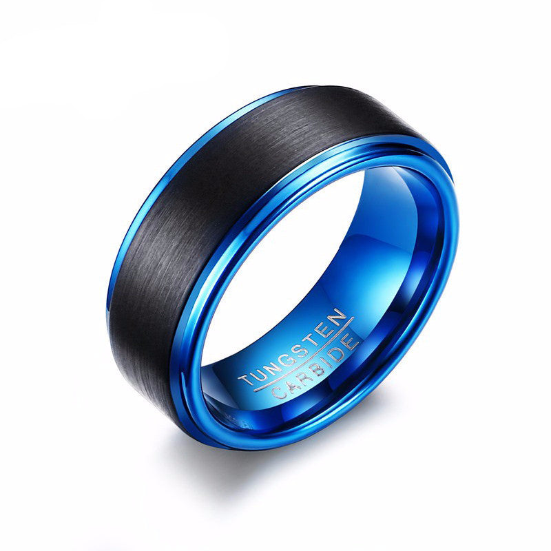WW Trendy Black/Blue Tungsten Carbide Ring For Men 8MM Jewelry (USA Size)