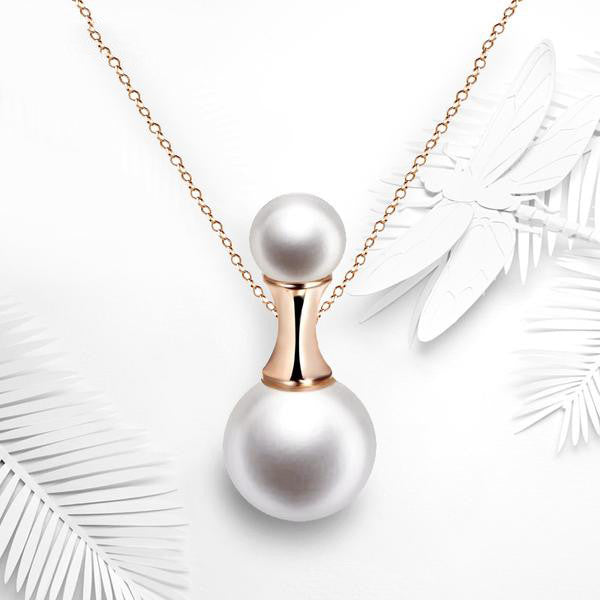 WW Perfume Bottle Shaped Pearl Rose Gold Necklace