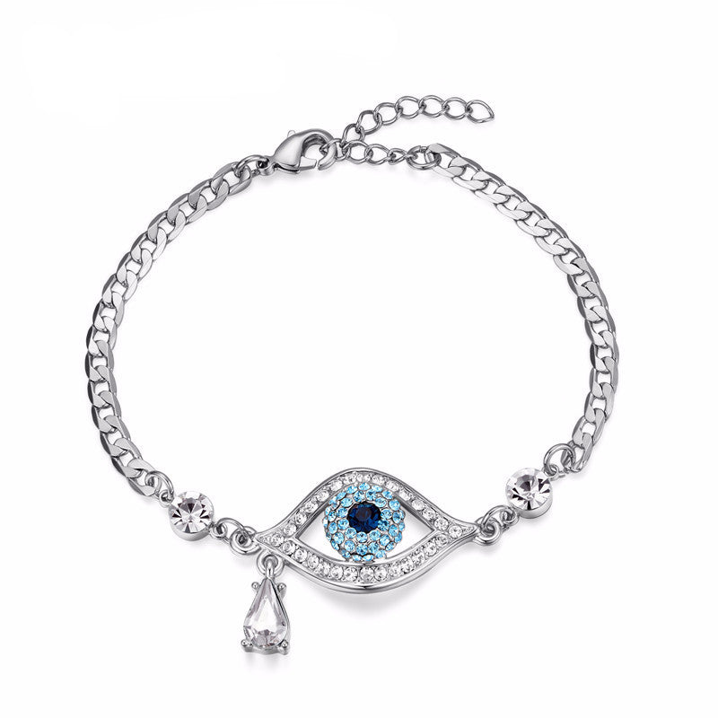 WW Evil Eye Austrian Rhinestones Bracelets For Women White Gold Color