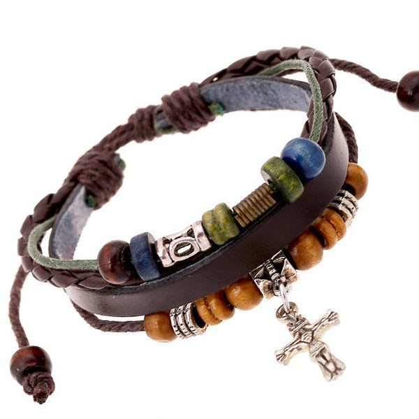 New Design WW Trendy Multilayer Cross Hand Woven Beaded Bracelets Bangle For Men And Women