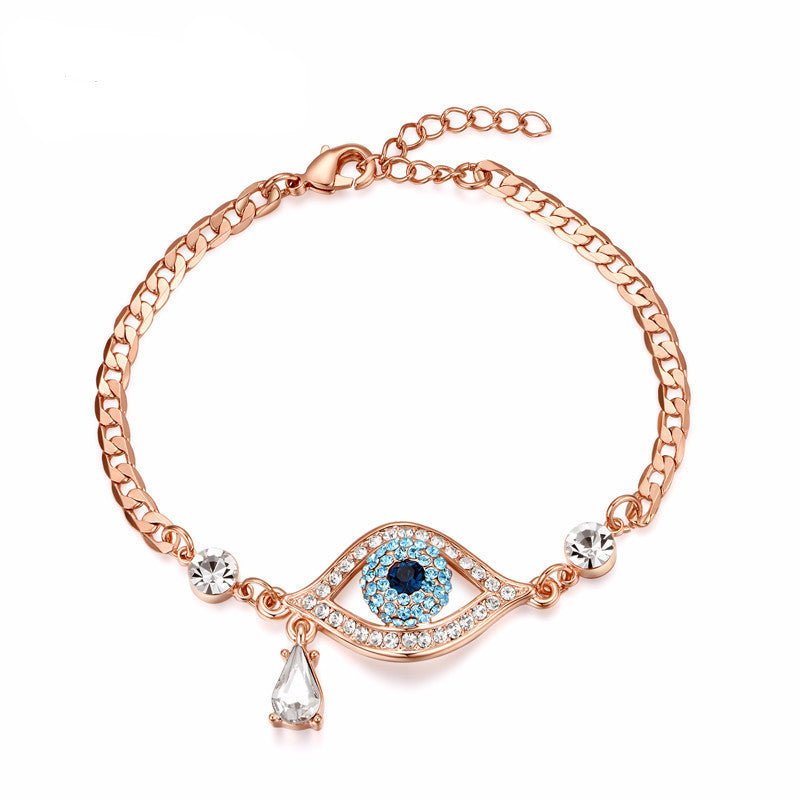 WW Evil Eye Austrian Rhinestones Bracelets For Women Rose Gold Color