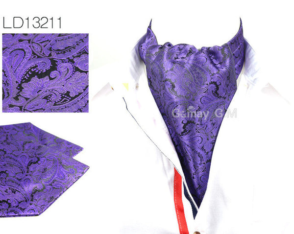 WW Men Vintage Purple Paisley Print Cravat Ascot British Gentleman Style Polyester Silk Neck Tie Luxury