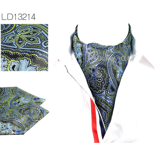 WW Men Vintage Paisley Print Cravat Ascot British Gentleman Style Polyester Silk Neck Tie Luxury