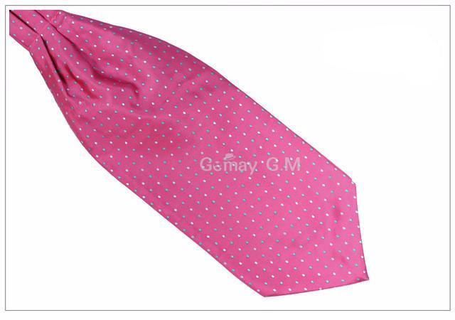 WW Classic Pink, Blue and White Polka Dot Print Ascot / Cravat Self Tie Luxury Mens