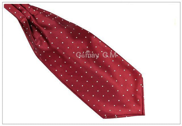 WW Classic Red and White Polka Dot Print Ascot / Cravat Self Tie Luxury Mens