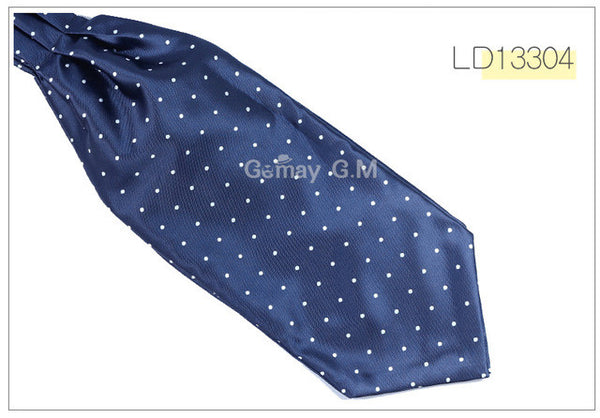 WW Classic Blue and White Polka Dot Print Ascot / Cravat Self Tie Luxury Mens