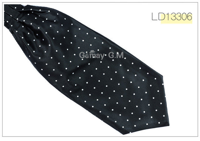 WW Classic Black and White Polka Dot Print Ascot / Cravat Self Tie Luxury Mens