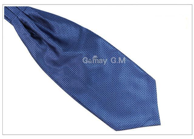 WW Classic Blue Sand Print Print Ascot / Cravat Self Tie Luxury Mens