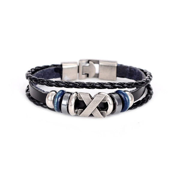 WW New Unisex Handmade Braid Genuine Leather Bracelet Wrap Charm Cross Bracelet Bangle