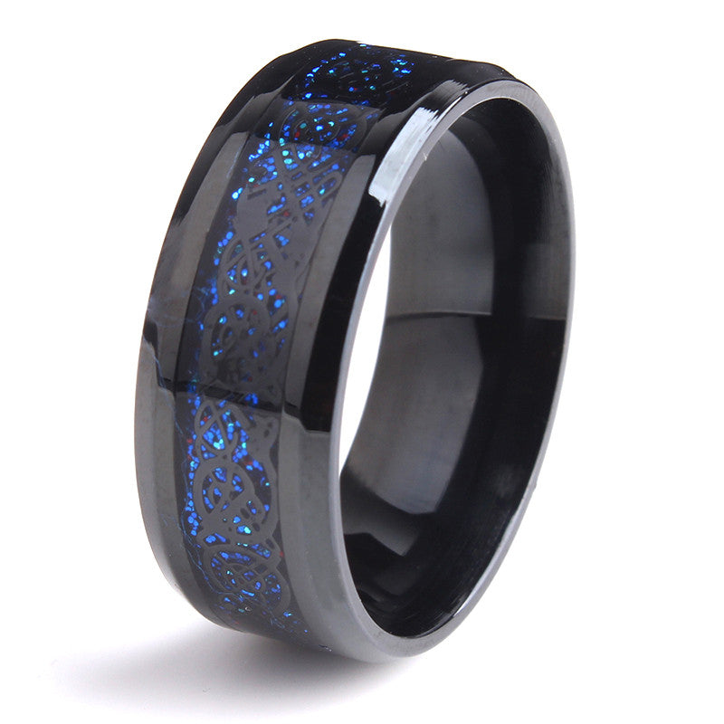 WW Unisex Black Dragon Blue Stainless Steel Carbon Fiber Rings For Men Or Women 8mm