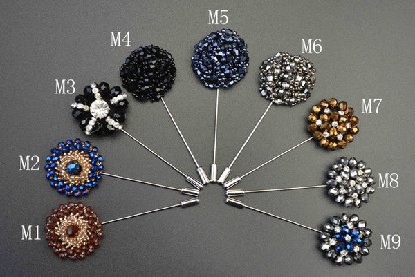 WW New Fashion Beaded Floral Men Lapel Pins / Daisy Flower Brooch For Suits Handmade with Rhinestones