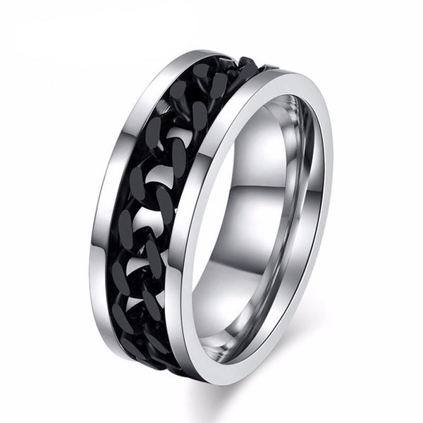 WW Men's Stainless Steel Chain Link Rings 3 Colors