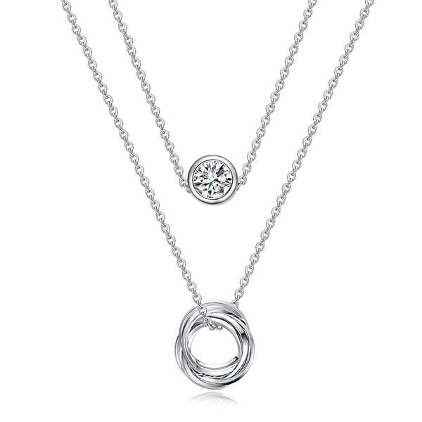 WW Women Link Chain Slide Two Layered Pendant Necklace White Gold Color