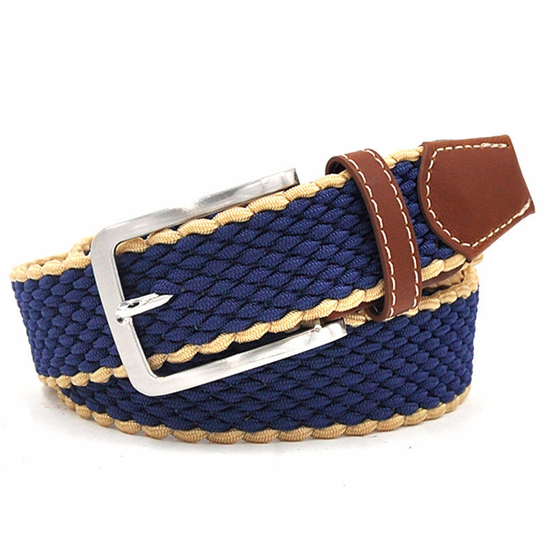 WW Men's Canvas Elastic Woven Stretch Belts With Strap Silver Buckle
