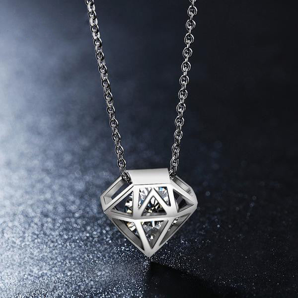 WW Women Hollow Star-shaped Clear Zirconia Necklace White Gold Color