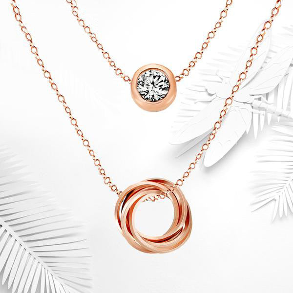 WW WOMEN LINK CHAIN SLIDE TWO LAYERED PENDANT NECKLACE Rose GOLD COLOR with Austrian Rhinestones