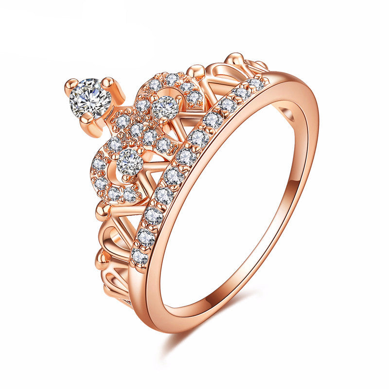 WW Exquisite Crown Shaped Ring Rose Gold Color with CZ Stones