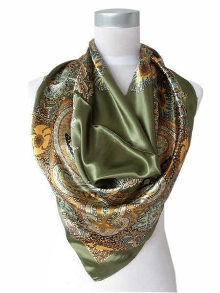 WW Women Army Green Satin Silk Scarf Printed Fashion