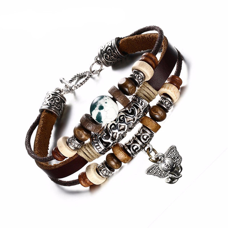 WW Cool Vintage Style Leather Elephant Charm Bracelet For Men or Women
