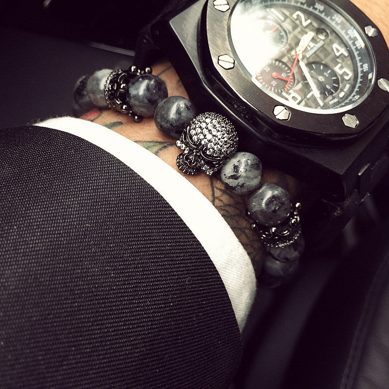 WW Skull Charm Buddha Bracelet With India Labradorite 8mm Natural Stone Light Beads Handmade Jewelry