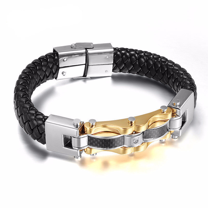 WW Punk Leather Men Bracelets & Bangles High Quality Stainless Steel Gold-Color Charm